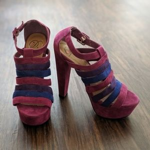 Delicious Shoes Plum Strappy Caged High Heels